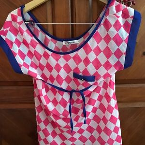 MrGusto Pink Accent Blouse sz m (fits like s